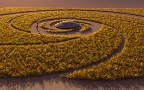 UFO making a crop circle