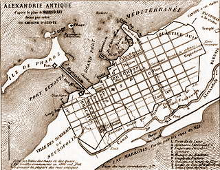Ancient Alexandria plan drawn by Mahmoud Bey el-Falaki for french emperor Napoleon III
