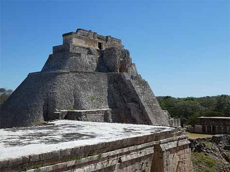 Pyramid of the Magician at Uxmal Yucatan Mexico
